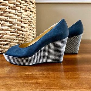 Nine West - Cheerful - Black and Cream Woven Wedge